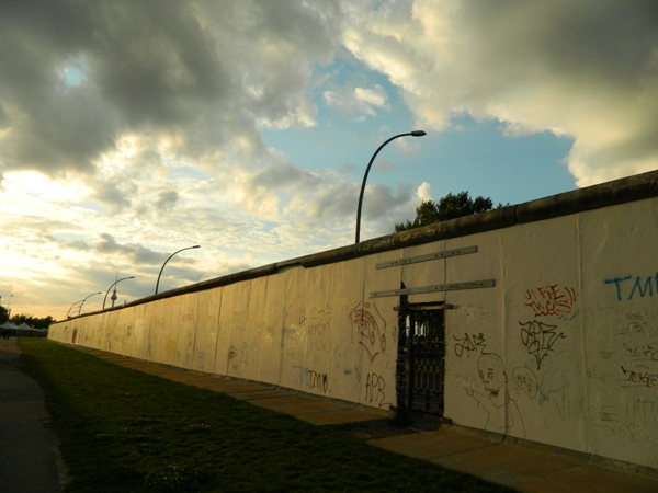 The Berlin Wall on the opposite side of the East Side Gallery