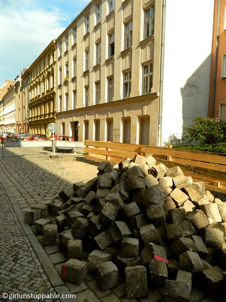 Stack of cobblestone in Neukolln, Berlin