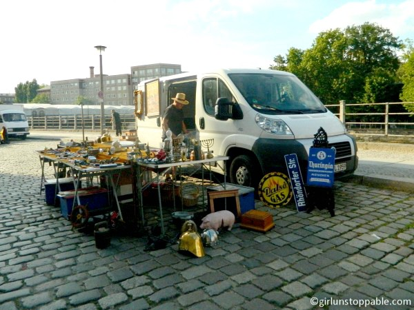 Man selling used goods in Berlin