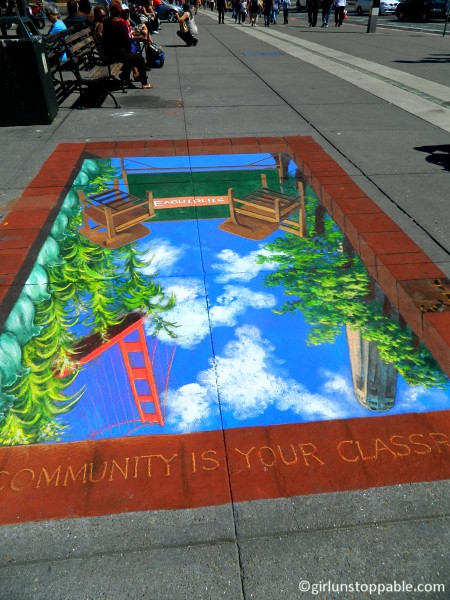 3D chalk art on the Embarcardero in San Francisco