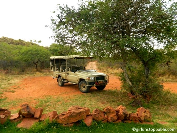 Our safari vehicle at Okonjima Nature Reserve in Namibia