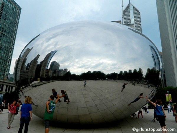 A side view of the Cloud Gate sculpture in Chicago
