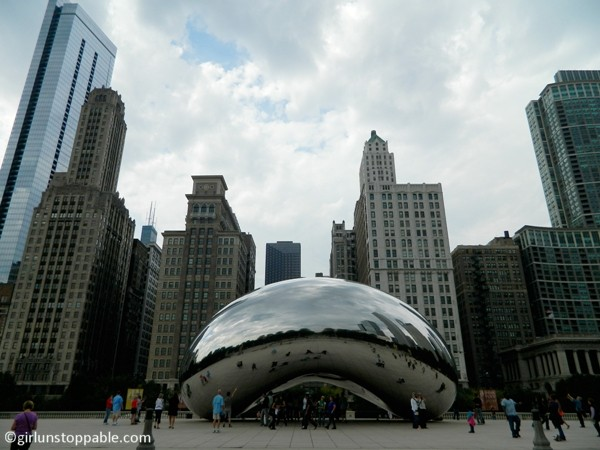 The Cloud Gate and skyscrapers in Chicago