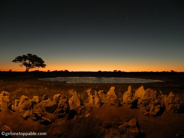 Twilight at the Okaukuejo watering hole in Etosha National Park, Namibia