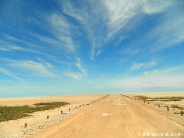 Etosha Pan salt flat in Namibia