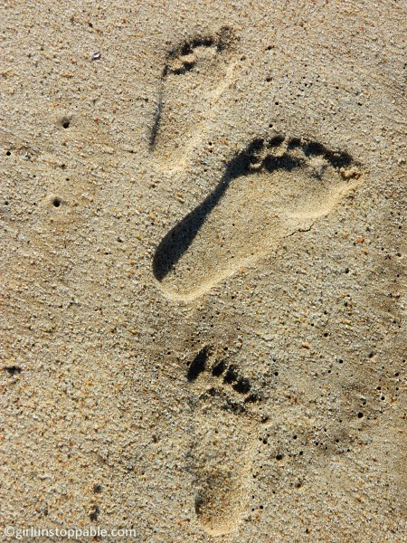 Footprints in the sand in Swakopmund, Namibia