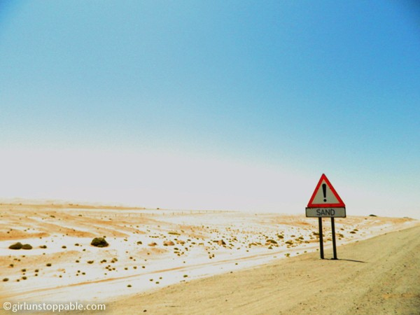 Sign on the highway between Swakopmund and Walvis Bay, Namibia