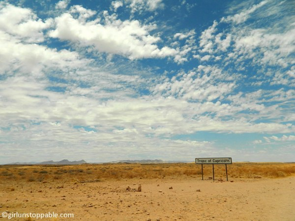 Crossing the Tropic of Capricorn in Namibia