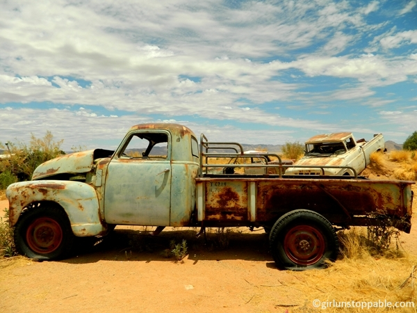 Rusty trucks in Solitaire, Namibia