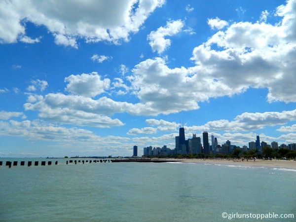 The Chicago city skyline and Lake Michigan