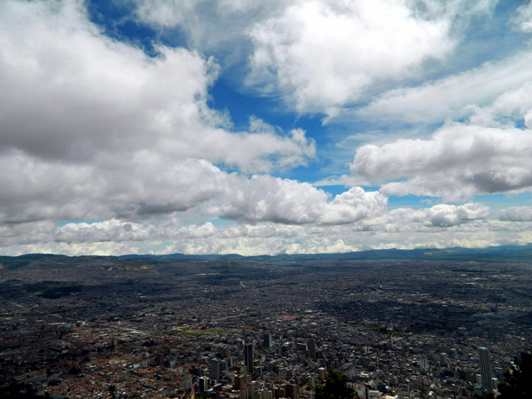 View of the city from the top of Monserrate in Bogota, Colombia