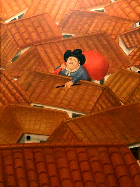 """The Thief on the Roof"" by Fernando Botero at the Botero Museum in Bogota, Colombia"