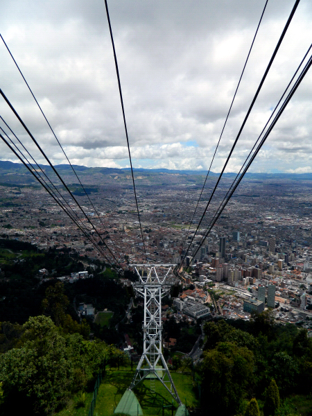 Monserrate cables and city view in Bogota, Colombia