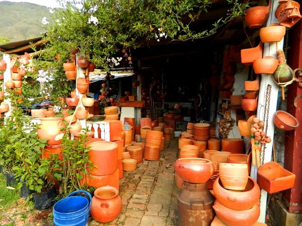 Pottery at the Mercado de Pulgas in Villa de Leyva, Colombia