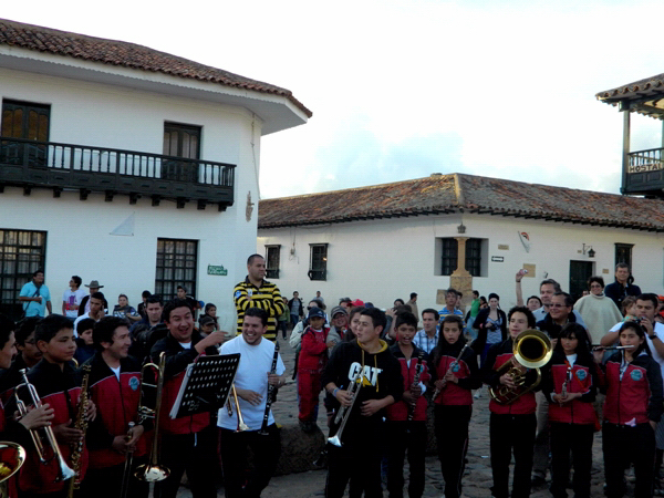 Youth band performing in Villa de Leyva, Colombia
