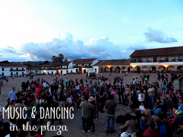 Music and dancing in Plaza Mayor in Villa de Leyva, Colombia