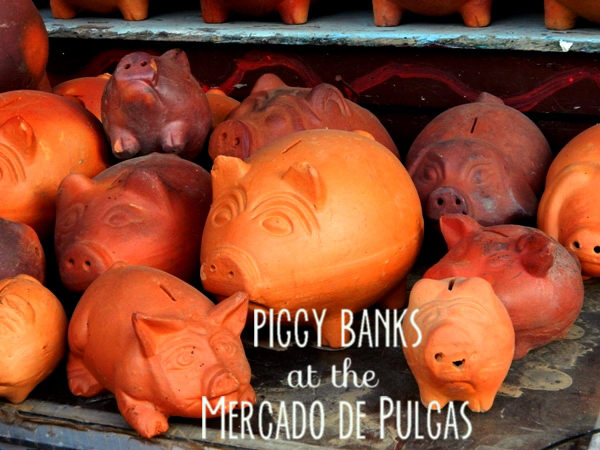 Piggy banks at the Mercado de Pulgas in Villa de Leyva, Colombia