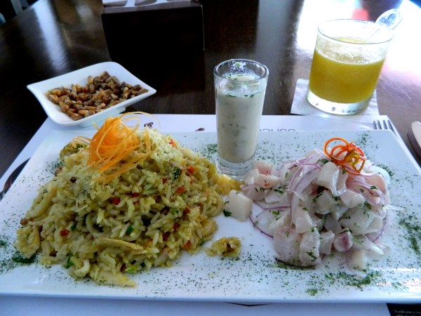 Ceviche and seafood rice in Medellin, Colombia