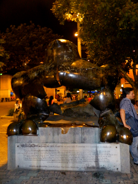 Bombed Botero statue at Parque San Antionio in Medellin, Colombia