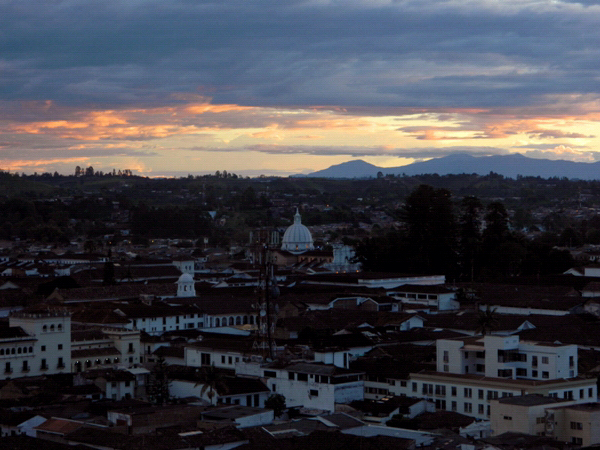 Twilight view of Popayan, Colombia