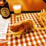 Currywurst, fries, and pilsner in Berlin